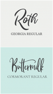 hand-written font combinations